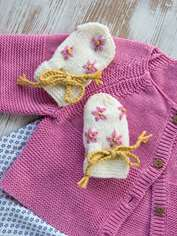 Embroidered Baby Mitts