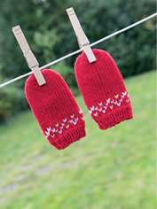 Fair Isle Border Baby Mitts