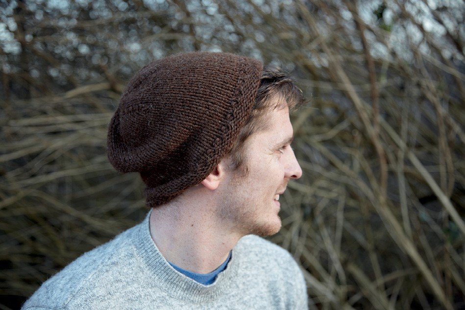 Autumnal striped slouch beanie