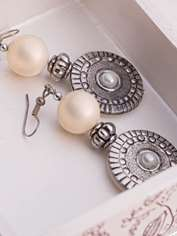Pearl and Pewter Earrings