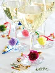 Party Glass Marker Pompoms