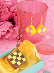 Battenberg Cake Earrings
